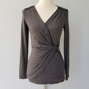 Cache Faux Wrap Gray Leather Trim Blouse S Small